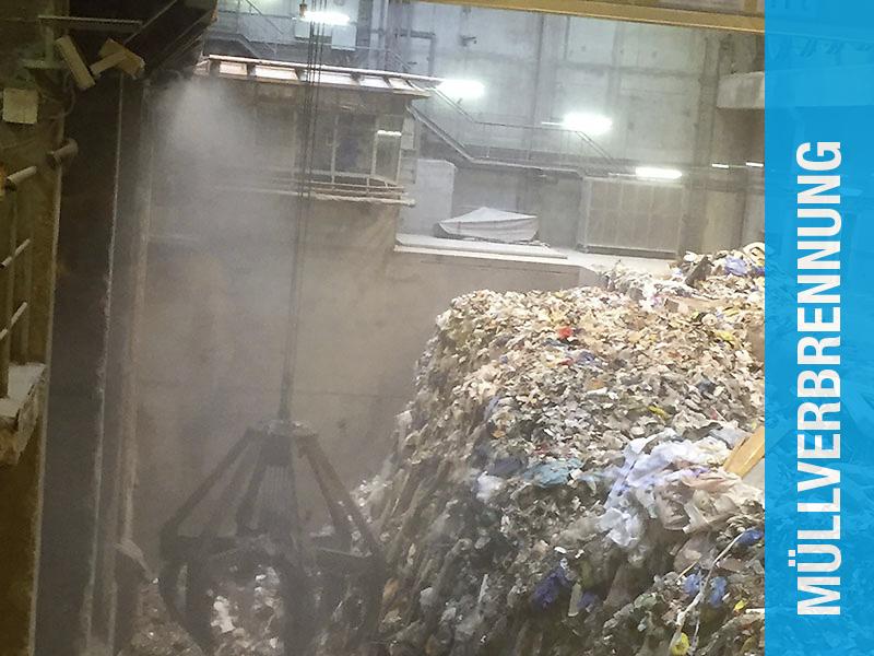 Staubbindung in Müllverbrennungsanlage
