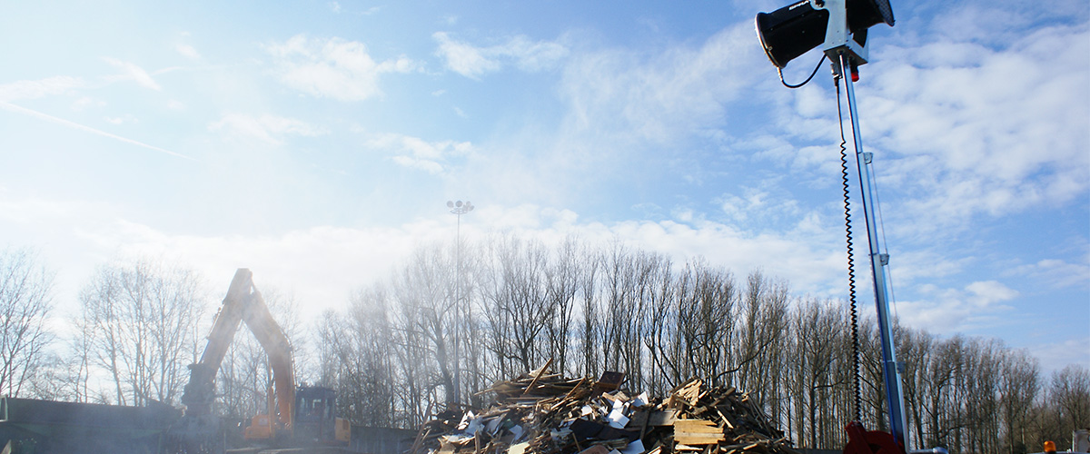 Staubbindemaschine im Recyclingbereich