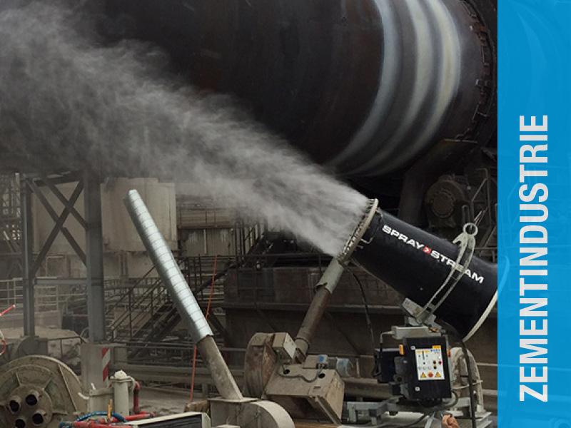 Staubbindemaschine im Bereich Zementindustrie Vorkühlung Drehrohrofen