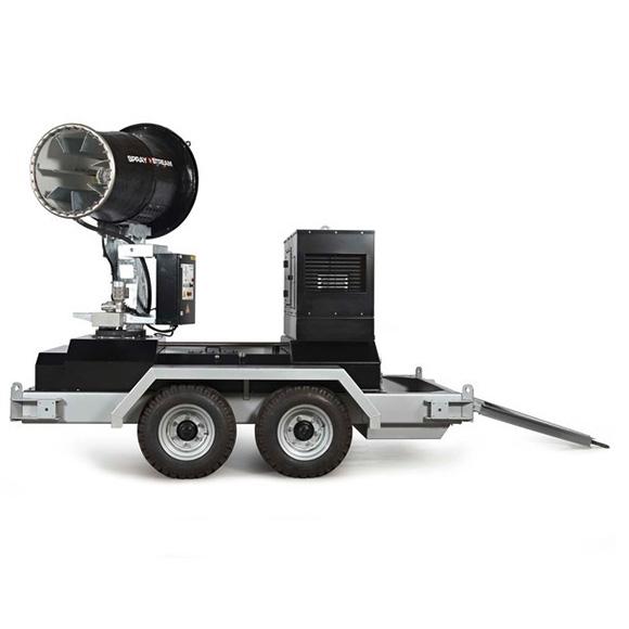 AQUACO Mobile Staubbindemaschine autark auf Anhänger
