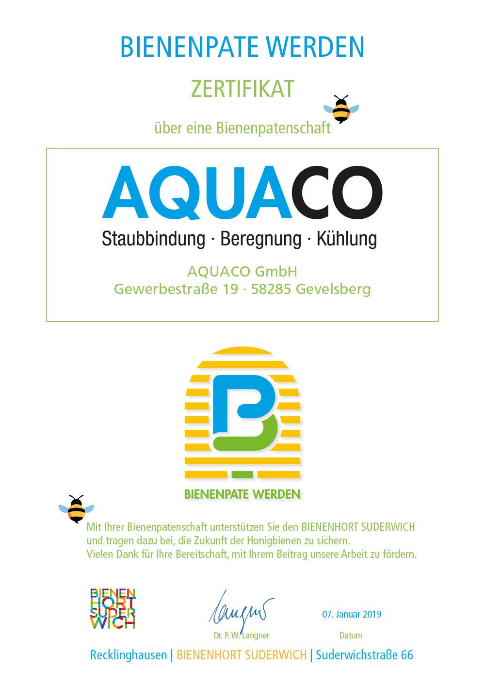 AQUACO Zertifikat BIENENPATE WERDEN des BIENENHORT SUDERWICH