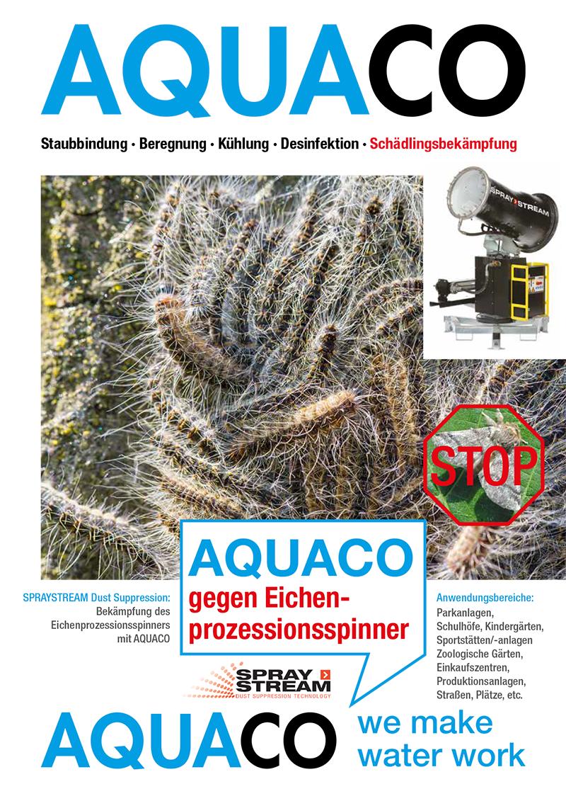 Prospekt SPRAYSTREAM-Staubbindemaschine von AQUACO zur Eichenprozessionsspinner-Bekämpfung